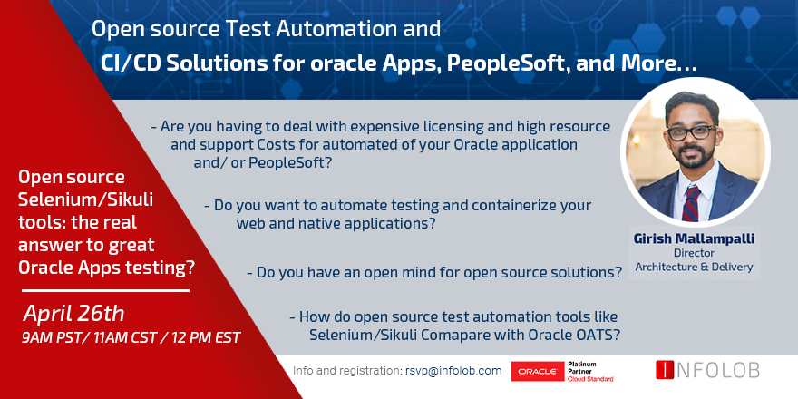 April 26th 2018 – Infolob Webinar – Open source Test Automation and CI/CD