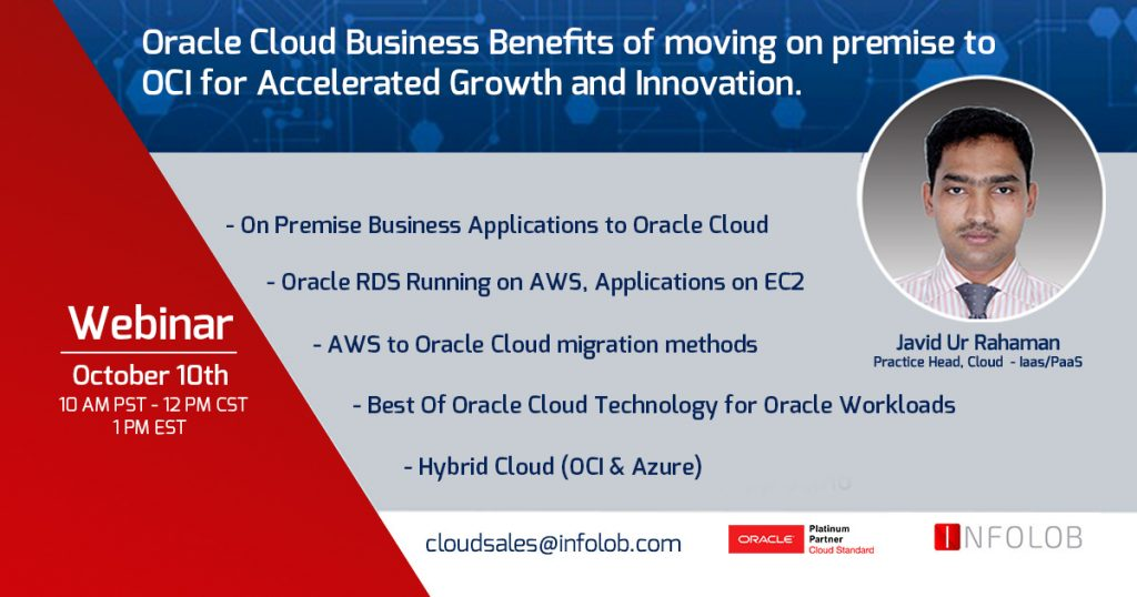 Premise or AWS to Oracle Cloud on October 10th at 12 PM CST!