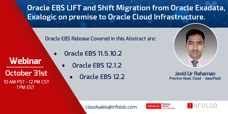Join us for our Oracle EBS Lyft and Shift Webinar on October 31st at 12 PM CST!